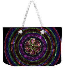 Weekender Tote Bag featuring the digital art Circle Flower by Angie Tirado