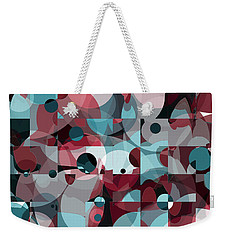 Weekender Tote Bag featuring the digital art Circles Squared by Shawna Rowe