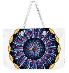 Weekender Tote Bag featuring the digital art Circularium No 2633 by Alan Bennington