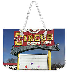Weekender Tote Bag featuring the photograph Circus Drive In Sign by Melinda Saminski