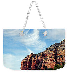 Weekender Tote Bag featuring the photograph Cirrus Clouds Over The Mesa by Lynda Lehmann