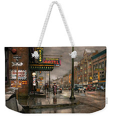 City - Amsterdam Ny -  Call 666 For Taxi 1941 Weekender Tote Bag by Mike Savad