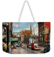 Weekender Tote Bag featuring the photograph City - Amsterdam Ny - Downtown Amsterdam 1941 by Mike Savad