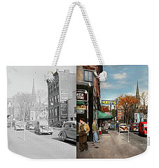 Weekender Tote Bag featuring the photograph City - Amsterdam Ny - Downtown Amsterdam 1941- Side By Side by Mike Savad