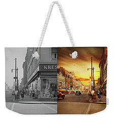 Weekender Tote Bag featuring the photograph City - Amsterdam Ny - The Lost City 1941 - Side By Side by Mike Savad
