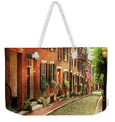 Weekender Tote Bag featuring the photograph City - Boston Ma - Acorn Street by Mike Savad