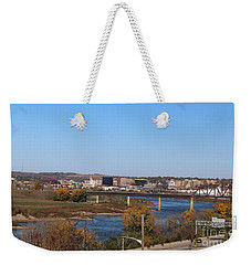 Weekender Tote Bag featuring the photograph City By The River by Yumi Johnson
