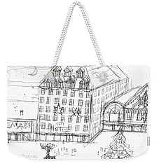 Weekender Tote Bag featuring the painting City Christmas by Artists With Autism Inc