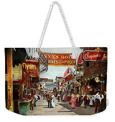 Weekender Tote Bag featuring the photograph City - Coney Island Ny - Bowery Beer 1903 by Mike Savad