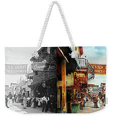 Weekender Tote Bag featuring the photograph City - Coney Island Ny - Bowery Beer 1903 - Side By Side by Mike Savad