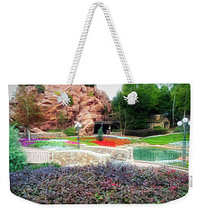 Weekender Tote Bag featuring the photograph City Flare Flower Garden Walkway by Aimee L Maher Photography and Art Visit ALMGallerydotcom