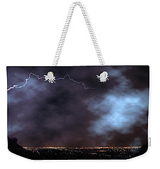 Weekender Tote Bag featuring the photograph City Lights Night Strike by James BO Insogna