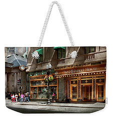 Weekender Tote Bag featuring the photograph City - Ma Boston - Meet Me At The Omni Parker Clock by Mike Savad