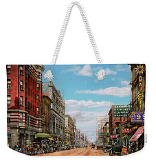 Weekender Tote Bag featuring the photograph City - Memphis Tn - Main Street Mall 1909 by Mike Savad