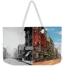 Weekender Tote Bag featuring the photograph City - Memphis Tn - Main Street Mall 1909 - Side By Side by Mike Savad