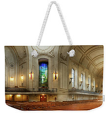 Weekender Tote Bag featuring the photograph City - Naval Academy - God Is My Leader by Mike Savad