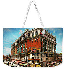 Weekender Tote Bag featuring the photograph City - Ny New York - The Nation's Largest Dept Store 1908 by Mike Savad