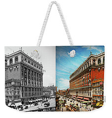 Weekender Tote Bag featuring the photograph City - Ny New York - The Nation's Largest Dept Store 1908 - Side by Mike Savad