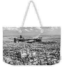 Weekender Tote Bag featuring the photograph City Of Lincoln Vn-t Over The City Of Lincoln Bw Version by Gary Eason