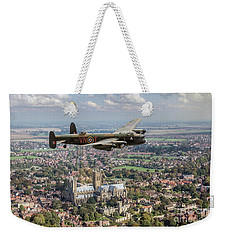 Weekender Tote Bag featuring the photograph City Of Lincoln Vn-t Over The City Of Lincoln by Gary Eason