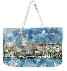 City Of Split In Croatia With Birds Flying In The Sky Weekender Tote Bag