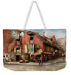 Weekender Tote Bag featuring the photograph City - Pa - Fish And Provisions 1898 by Mike Savad