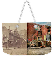 Weekender Tote Bag featuring the photograph City - Pa - Fish And Provisions 1898 - Side By Side by Mike Savad