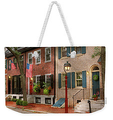Weekender Tote Bag featuring the photograph City - Pa Philadelphia - American Townhouse by Mike Savad