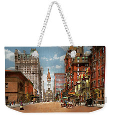 Weekender Tote Bag featuring the photograph City - Pa Philadelphia - Broad Street 1905 by Mike Savad
