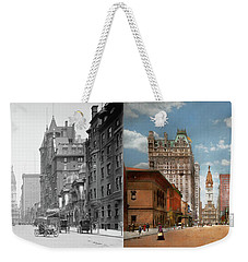 Weekender Tote Bag featuring the photograph City - Pa Philadelphia - Broad Street 1905 - Side By Side by Mike Savad