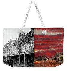 Weekender Tote Bag featuring the photograph City - Palmerston North Nz - The Shopping District 1908 - Side By Side by Mike Savad