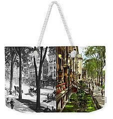 Weekender Tote Bag featuring the photograph City - Saratoga Ny -  I Would Love To Be On Broadway 1915 - Side By Side by Mike Savad