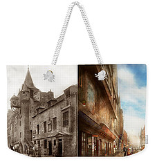Weekender Tote Bag featuring the photograph City - Scotland - Tolbooth Operator 1865 - Side By Side by Mike Savad
