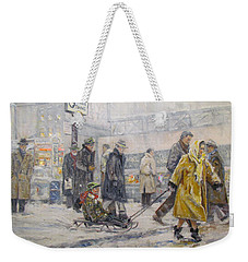 Weekender Tote Bag featuring the painting City Snow Ride by Donna Tucker