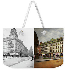 Weekender Tote Bag featuring the photograph City - Toledo Oh - Got A Boody Call 1910 - Side By Side by Mike Savad