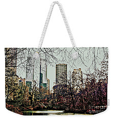 Weekender Tote Bag featuring the photograph City View From Park by Sandy Moulder