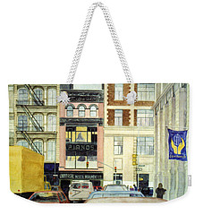 Weekender Tote Bag featuring the painting Cityscape by Karen Zuk Rosenblatt