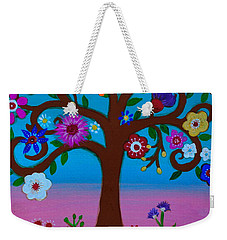Weekender Tote Bag featuring the painting Cj's Tree by Pristine Cartera Turkus