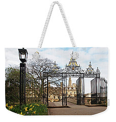 Weekender Tote Bag featuring the photograph Clare College Gate Cambridge by Gill Billington
