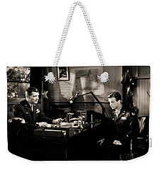 Weekender Tote Bag featuring the photograph Clark Gable Staring In Command Decision by R Muirhead Art