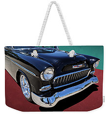 Classic Black And White 1950s Chevy Bel Air Weekender Tote Bag