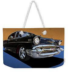 Classic Black Chevy Bel Air With Gold Trim Weekender Tote Bag