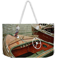 Classic Boats Docked On A Cloudy Day Weekender Tote Bag