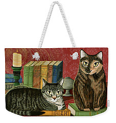 Weekender Tote Bag featuring the painting Classic Literary Cats by Carrie Hawks