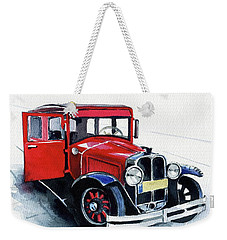 Weekender Tote Bag featuring the painting Classic Red Pontiac Car 1930 by Dora Hathazi Mendes