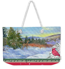 Weekender Tote Bag featuring the painting Classic Winterscape With Cardinal And Reindeer by Judith Cheng