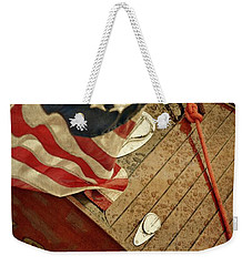 Classic Wooden Boat Stern With Flag Weekender Tote Bag