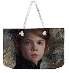 Weekender Tote Bag featuring the painting Classical Portrait Of Young Girl In Victorian Dress by Karen Whitworth