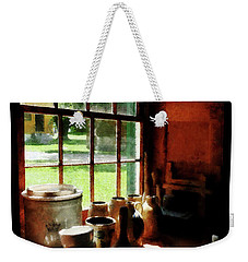 Weekender Tote Bag featuring the photograph Clay Jars On Windowsill by Susan Savad