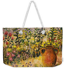 Clay Pot In The Garden Weekender Tote Bag by Lou Ann Bagnall